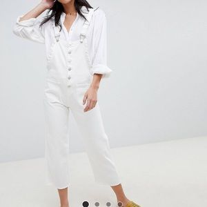 Lost Ink Raw Hem Overalls With Frill Side Detail
